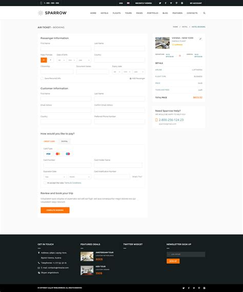 flight booking template sparrow responsive travel booking template by