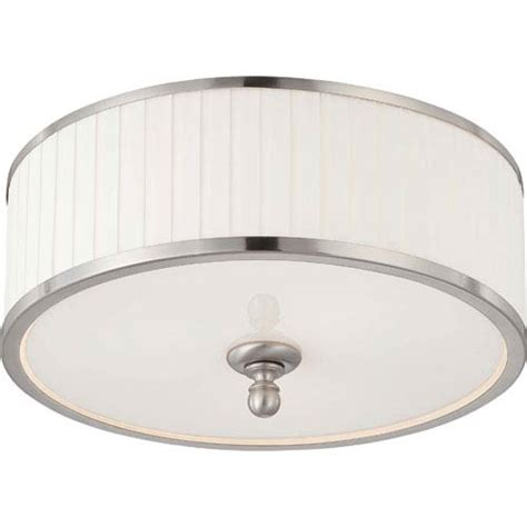 Shop Portfolio 15 98 In W White Flush Mount Light At Lowes Nuvo Lighting Candice Brushed Nickel Three Light Flush Dome Fixture W Pleated White Shade On Sale