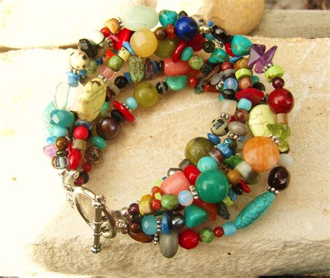 colored for bracelets multi color bracelet multi semi precious by jensbeadbox