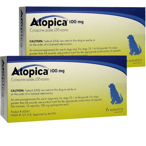 atopica for dogs atopica for dogs 33 1 64lbs 100mg 30 caps