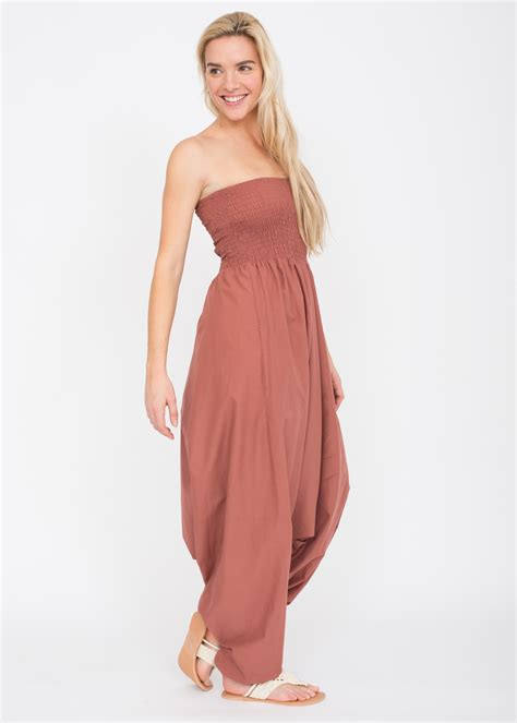 Maxi 2 In 1 2 in 1 cotton maxi harem trouser jumpsuit pink likemary