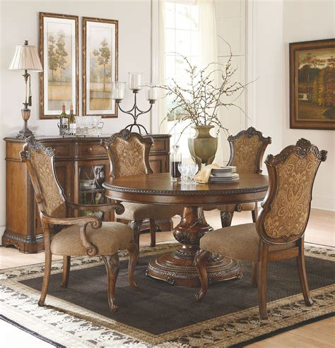legacy classic dining room set pemberleigh extendable round to oval dining room set from