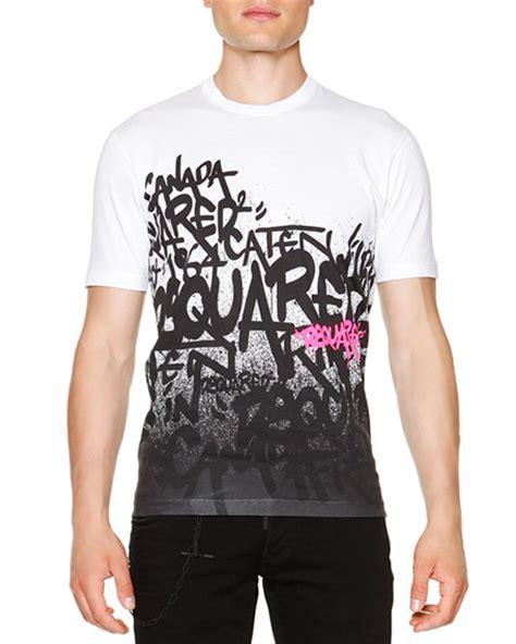 Graffiti Sleeve T Shirt dsquared2 graffiti print sleeve t shirt white