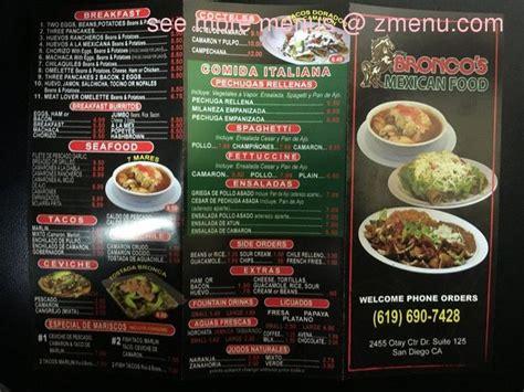 menu  broncos mexican food restaurant san diego