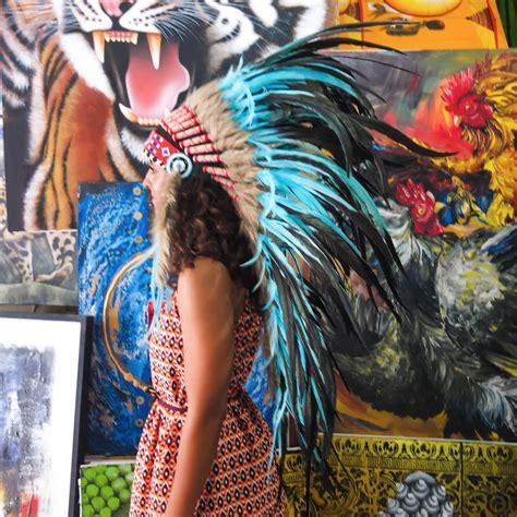 Handmade Indian Headdress - handmade chief indian headdress 95cm feathers