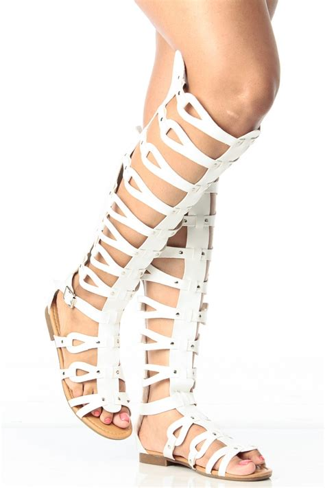 knee high gladiator sandals for sale white faux leather knee high gladiator sandals cicihot