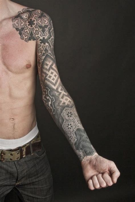 geometric sleeve dotwork tattoos pinterest posts