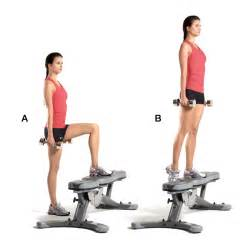 workout step bench superset 1a dumbbell step up women s health magazine