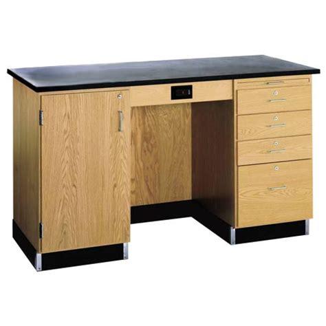 desk with drawers on left side diversified woodcrafts 1214kf l instructors desk w