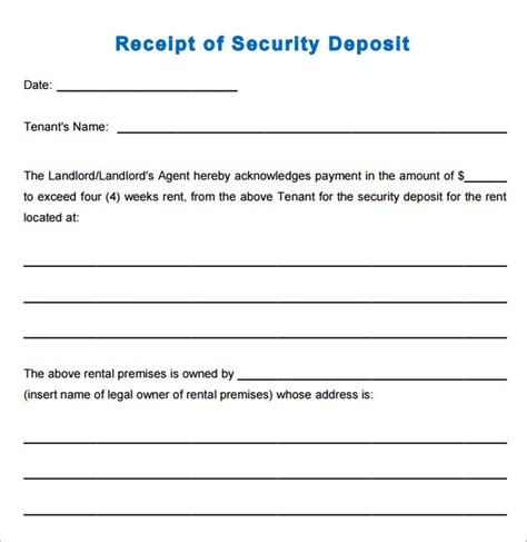 security deposite receipt template 11 printable receipt templates free sles exles