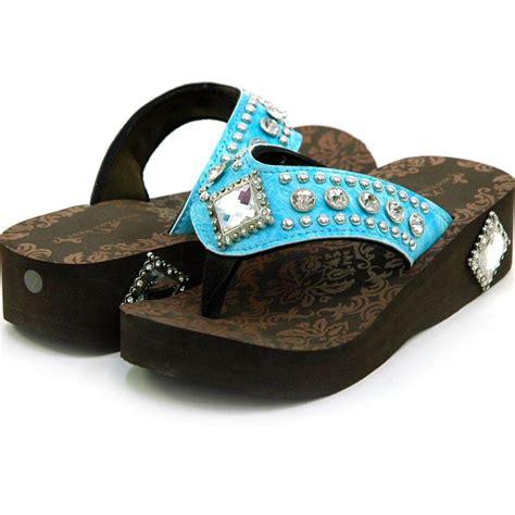 montana west sandals light blue montana west rhinestone flip flops