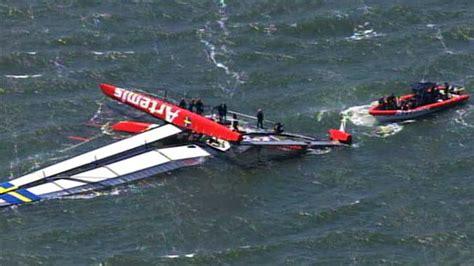 catamaran boat capsizes america s cup boat capsizes off san francisco one dead