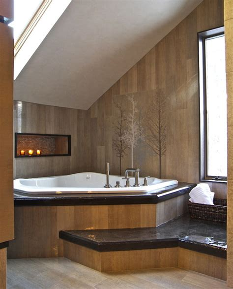 Rustikales Badezimmer by Rustikales Badezimmer Design Dachschr 228 Ge Eckwanne Holzwand