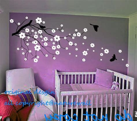 Cherry Blossom Wall Decal For Nursery Baby Nursery Decals Cherry Blossom Wall Decals Tree Decals Flower Floral Nature White