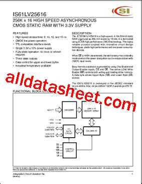 integrated circuit solution inc is61lv25616 datasheet pdf integrated circuit solution inc