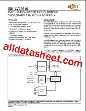 lm335 integrated circuit datasheet is61lv25616 datasheet pdf integrated circuit solution inc