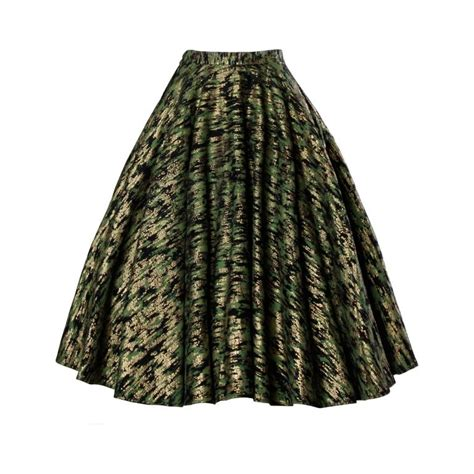 1950s swing skirt 1950s vintage metallic gold green hand screenprint swing