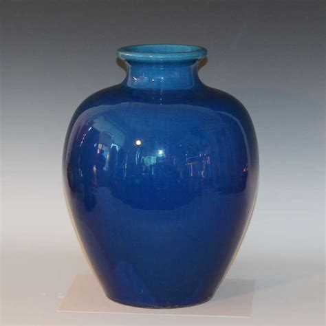 Antique Blue Vase by Large Antique Kyoto Pottery Blue Monochrome Vase For Sale