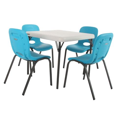 lifetime tables and chairs lifetime almond table glacier blue chairs set of 4