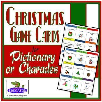printable christmas pictionary cards christmas pictionary and charades game charades game
