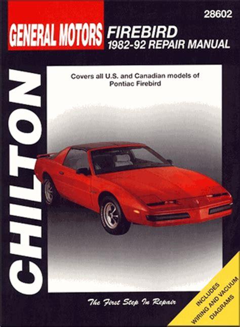 auto repair manual online 1985 pontiac firebird transmission control pontiac firebird transam repair manual 1982 1992 chilton 28602