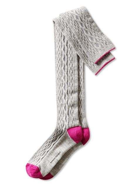 cable knit knee socks banana republic cable knit the knee sock grey in gray