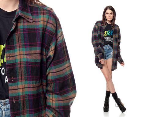 90s flannel shirt plaid oversized grunge sleeve