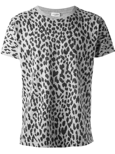 lyst laurent leopard print tshirt in gray for