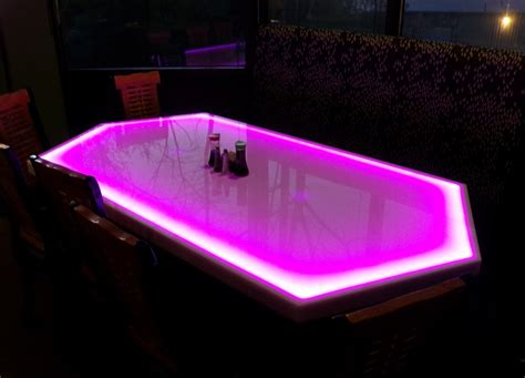 dining table led lights hexagon shaped led light up dining room table