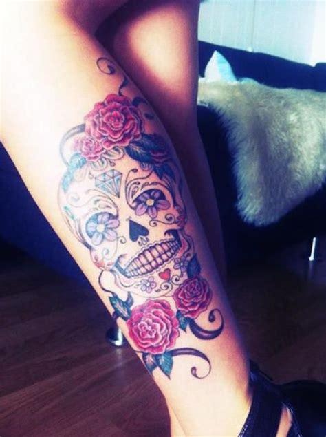 sugar skull thigh tattoos 138 cool sugar skull tattoos
