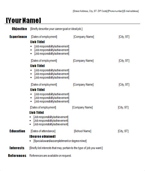 sles of resume templates chronological resume template chronological resume 9