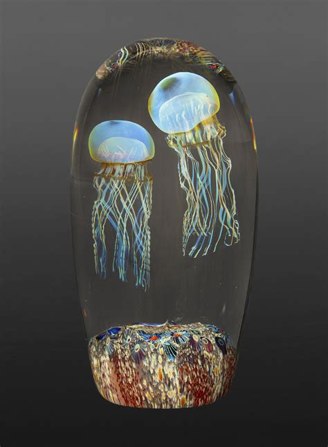 moon jellyfish double  richard satava art glass