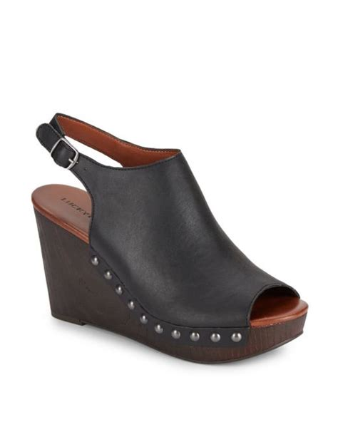 lucky brand leather peep toe slingback wedge sandals in