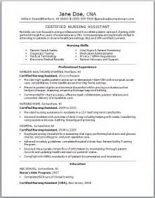Exle Of A Cna Resume by Sle Cna Resume