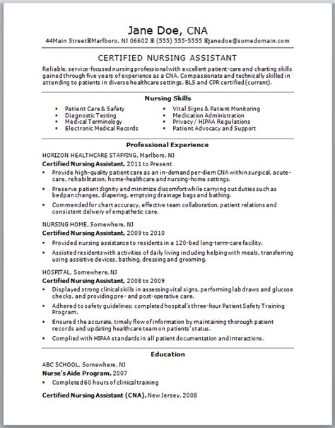 resume exles for nursing assistant sle cna resume