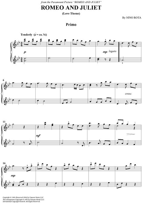 Theme Song Of Romeo And Juliet 1996 | romeo and juliet love theme sheet music for piano and