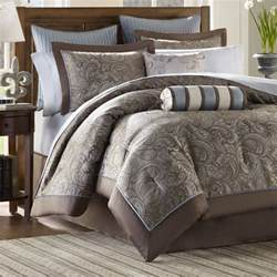 Blue And Brown Comforter Sets Queen Brown Blue 12 Piece Luxury Paisley Bedding Bed Comforter