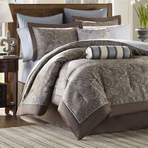 bedroom comforter sets queen brown blue 12 piece luxury paisley bedding bed comforter