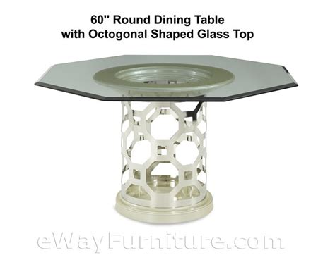 60 quot dining table with octagonal shaped glass top in
