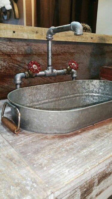 Galvanized Kitchen Sink Galvanized Buckets Sink And Industrial Pipe On Pinterest