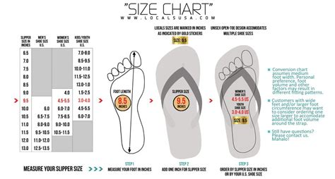 Locals Slippers Size Conversion Chart Locals Hawaiian
