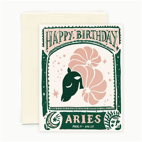 Aries Birthday Cards Aries Horoscope Birthday Card Products Pinterest