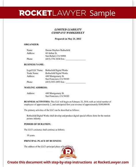 limited liability company worksheet form with sample