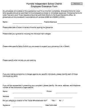 employee grievance form employee grievance fill printable fillable