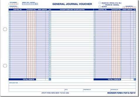 template of journal voucher general journal voucher horizontal form solutions inc