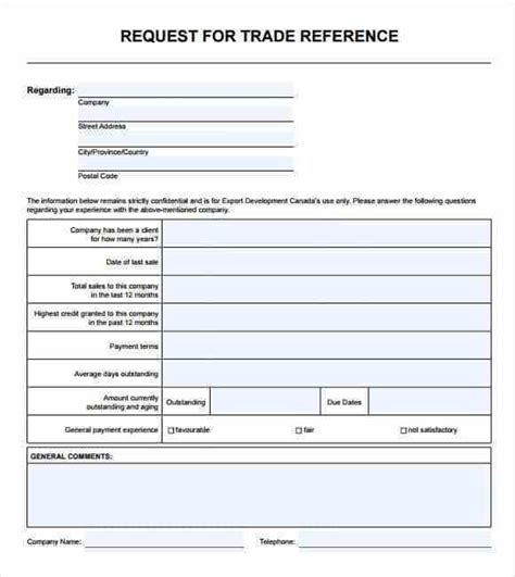 trade reference templates word excel samples