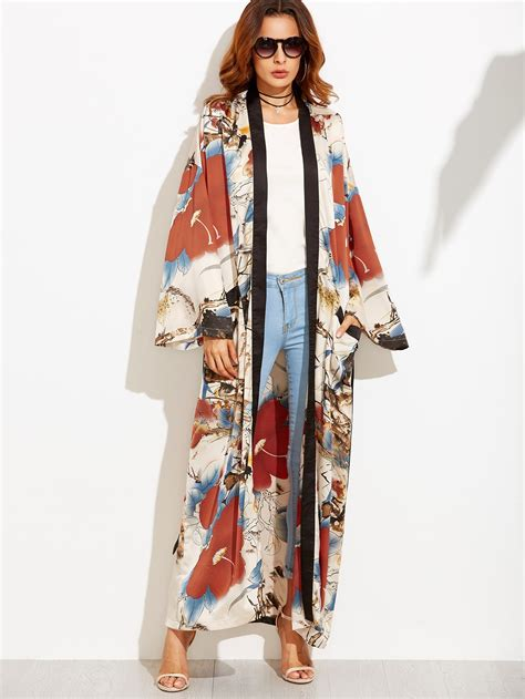 Maxy Kimono calico print contrast trim belted maxi kimono shein