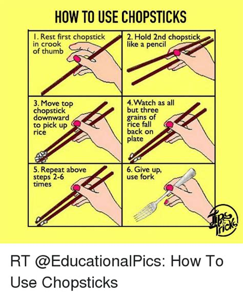how to use the how to use chopsticks l rest first chopstick 2 hold 2nd chopstick in crook like a pencil of