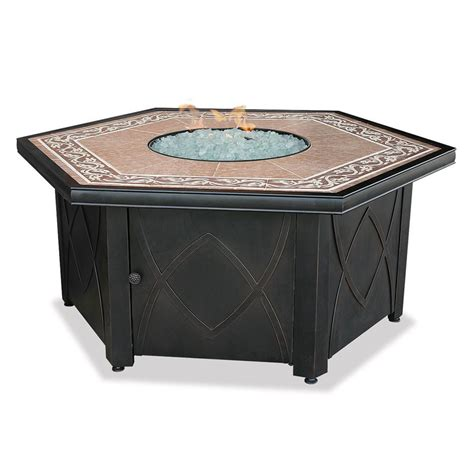 Propane Patio Table Shop Blue Rhino Uniflame 55 1 In W 30 000 Btu Steel Propane Gas Table At Lowes