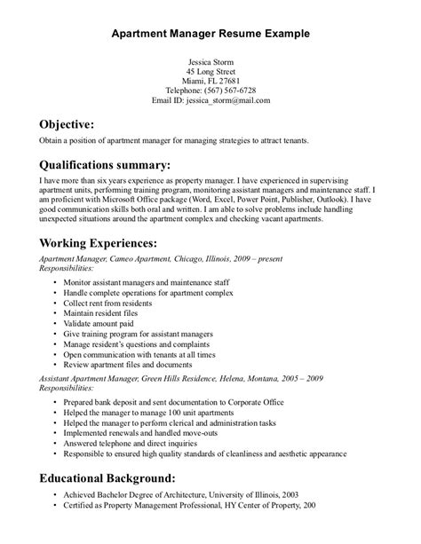 Exle Of Manager Resume by Property Manager Resume Sle Sle Resumes